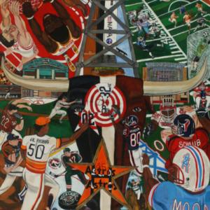 El Franco Lee, Houston Sports Authority, 2009, acrylic on canvas, 2 X 48 X 60 inches