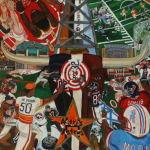 El Franco Lee, Houston Sports Authority, 2009, acrylic on canvas, 2 X 48 X 60 inches