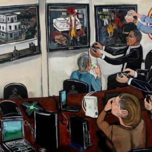 El Franco Lee, Obama vs Osama, 2011, acrylic on canvas, 2 x 36 x 48 inches
