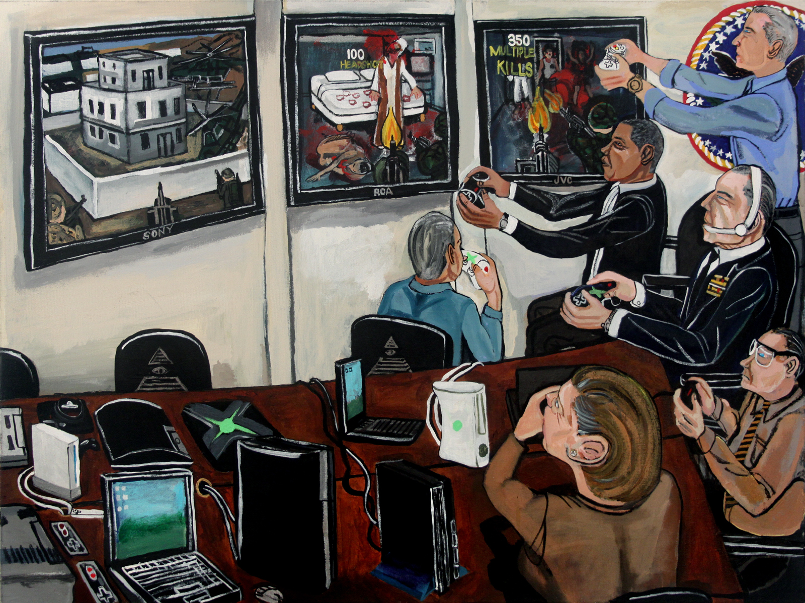 El Franco Lee, Obama vs Osama, 2011, acrylic on canvas, 2 x 36 x 48 inches