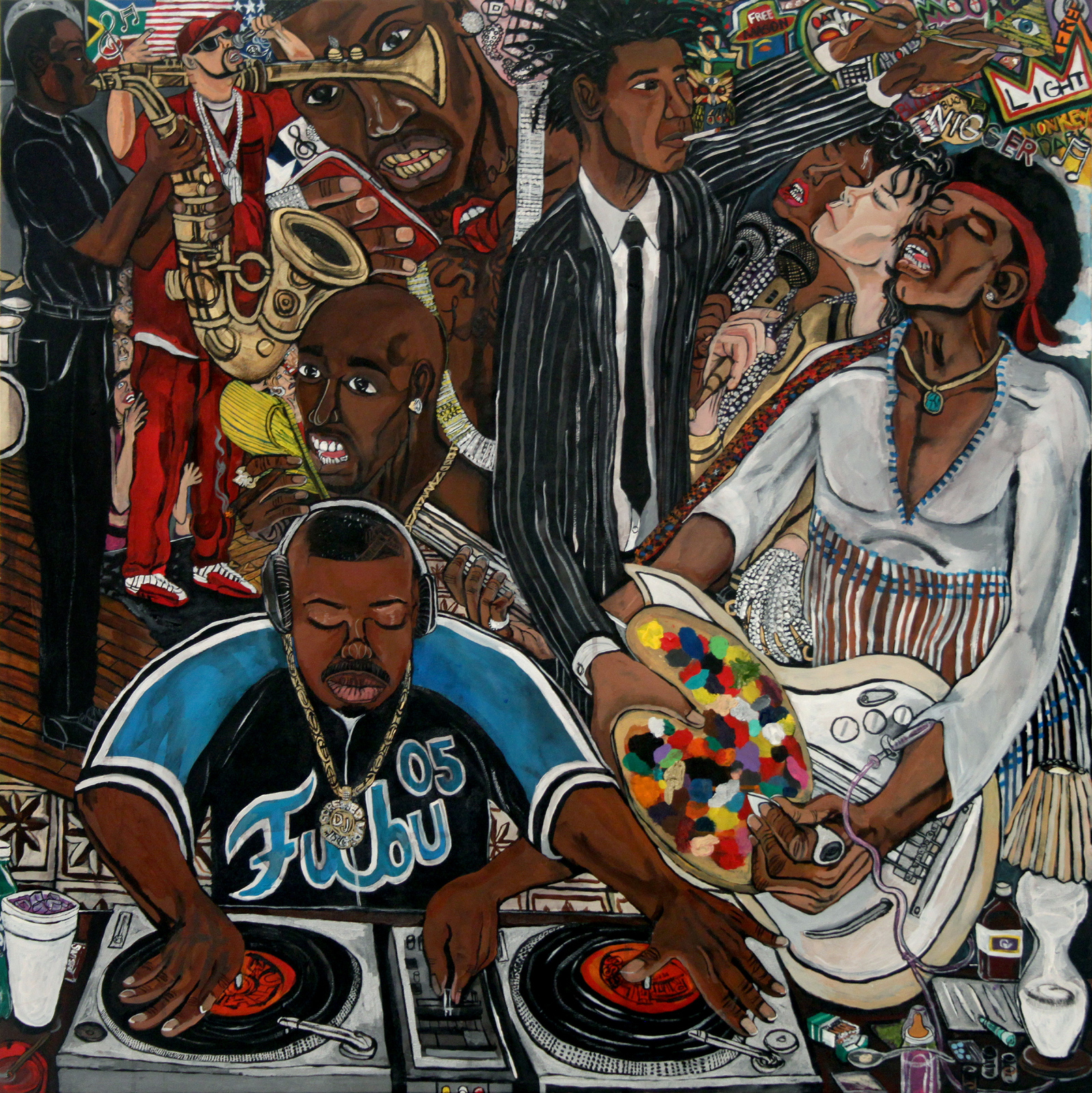 El Franco Lee, Rockstar Living, 2014, acrylic on canvas, 2 X 40 X 40 inches