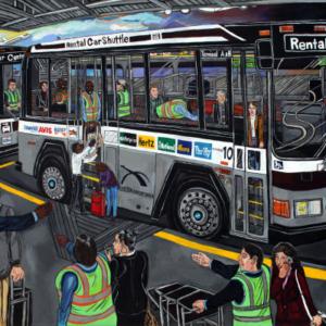 El Franco Lee, First Transit, 2015, acrylic on canvas, 2 x 36 x 48 inches