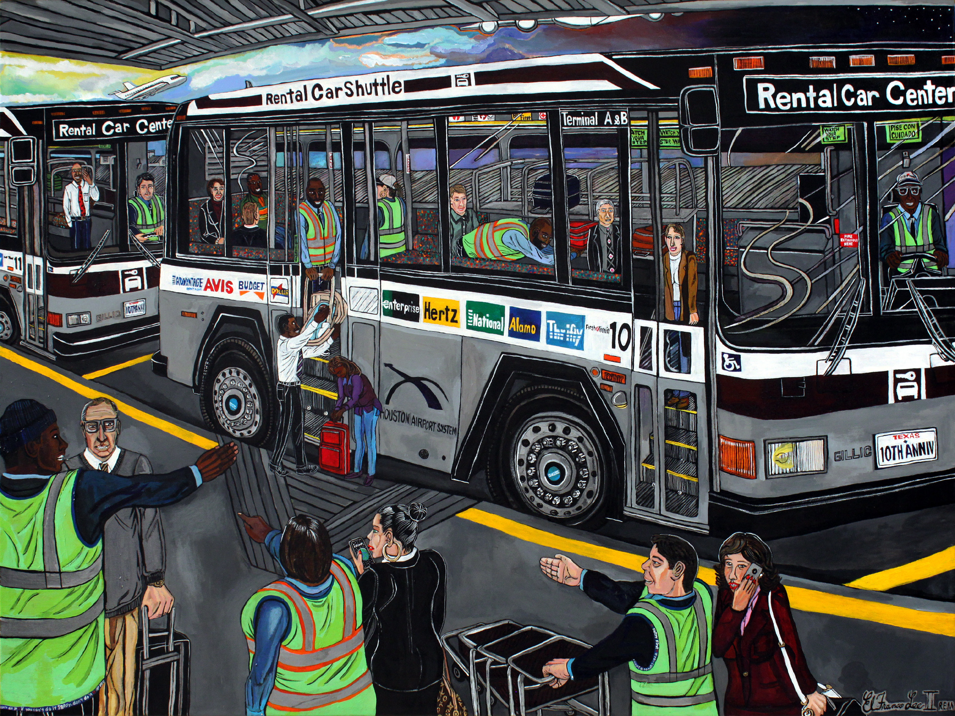 El Franco Lee, First Transit, 2015, acrylic on canvas, 2 x 36 x 48 inches