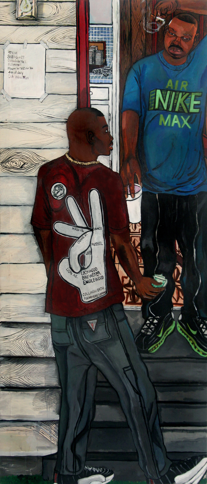 El Franco Lee, 97 Live, 2013, acrylic on canvas, 1 x 36 x 48 inches