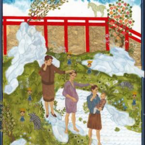 Larissa Bates, Mama Mimi, Hija, Hija, Hija, 2012, gouache and gold leaf on panel , 10 x 8 inches