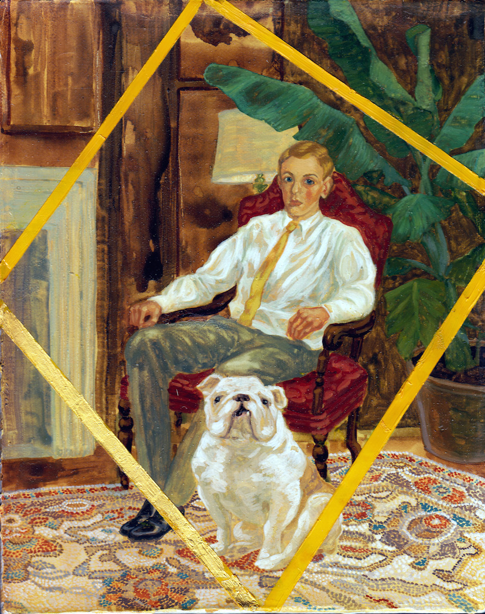 Larissa Bates, Trumbull College Master's Tea with Handsome Dan, 2012, gouache, oil and gold leaf on panel, 10 x 8 inches