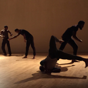 "LaMont Hamilton, Photographic still taken from a live performance of the Dapline! post modern dance piece, 2015, 16"" x 20"""