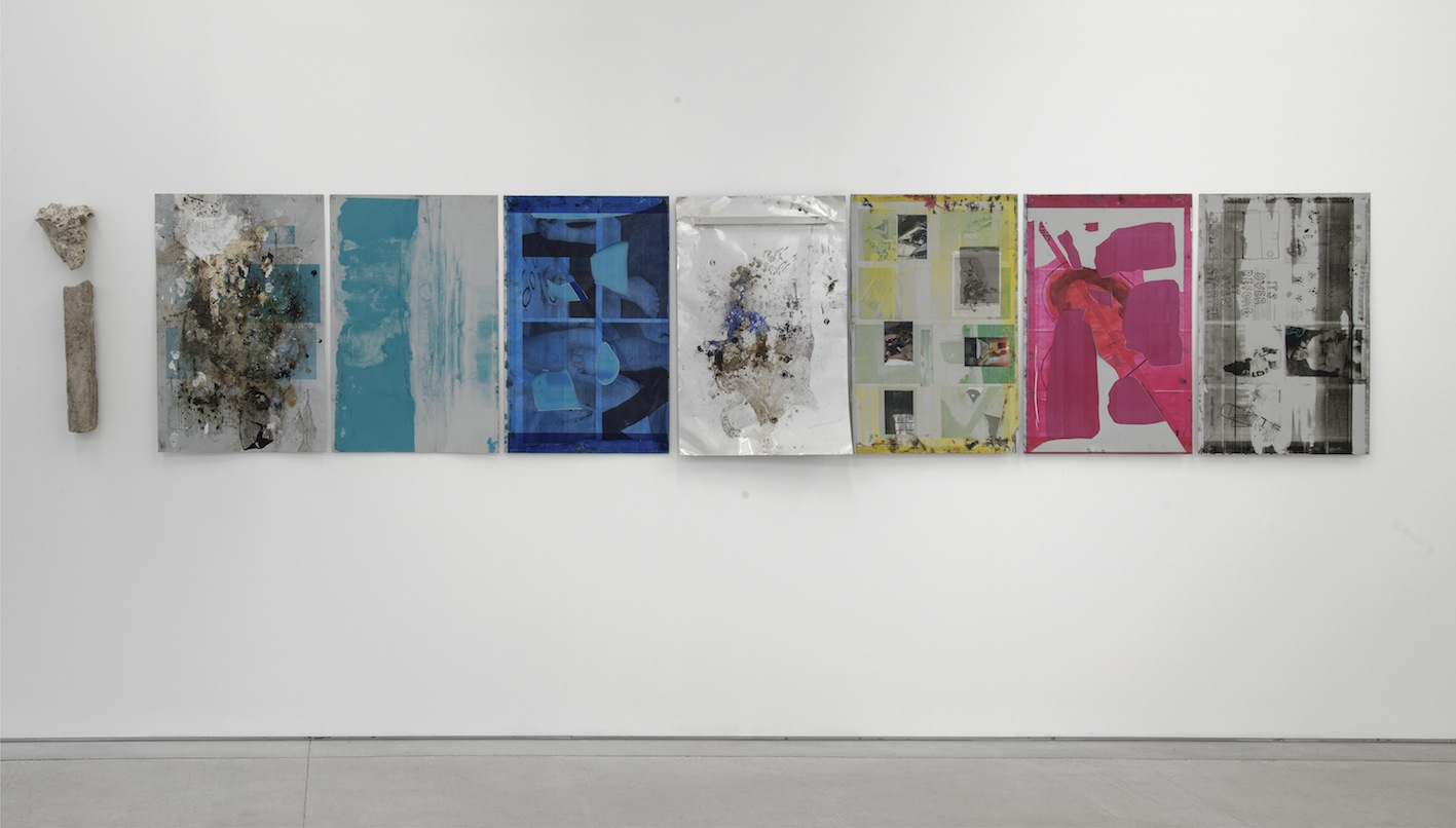 Ryan Foerster, Natural History Printing Plates, 2012 - 2014, C-prints, printingplates, photo toners, ink, debris, concrete, 8 elements, overall dimensions variable