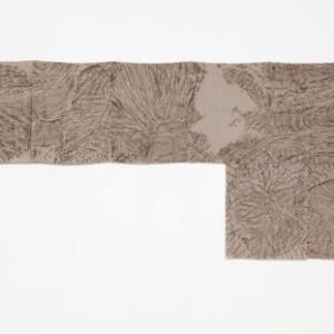 Helen Mirra, Field Recordings, 7 x 5000 Schritte, in Berlin (Grunewald), 6 August, 2011, oil on linen, 31 1/2 x 68 7/8 inches