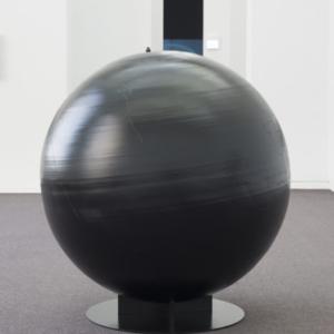 Ian Weaver, Globe, 2015, aluminum, enamel, 47 inches diameter x 52 inches height