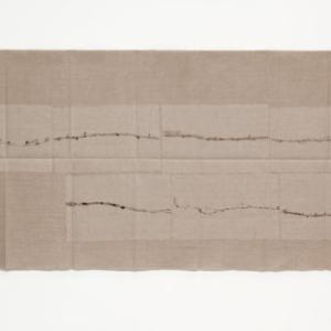 Helen Mirra, Field Recordings, 7 x 3-5 km, um Bonn (von Rolandseck), 19 Juli, 2011, ink on linen, 31 1/2 x 65 3/4 inches