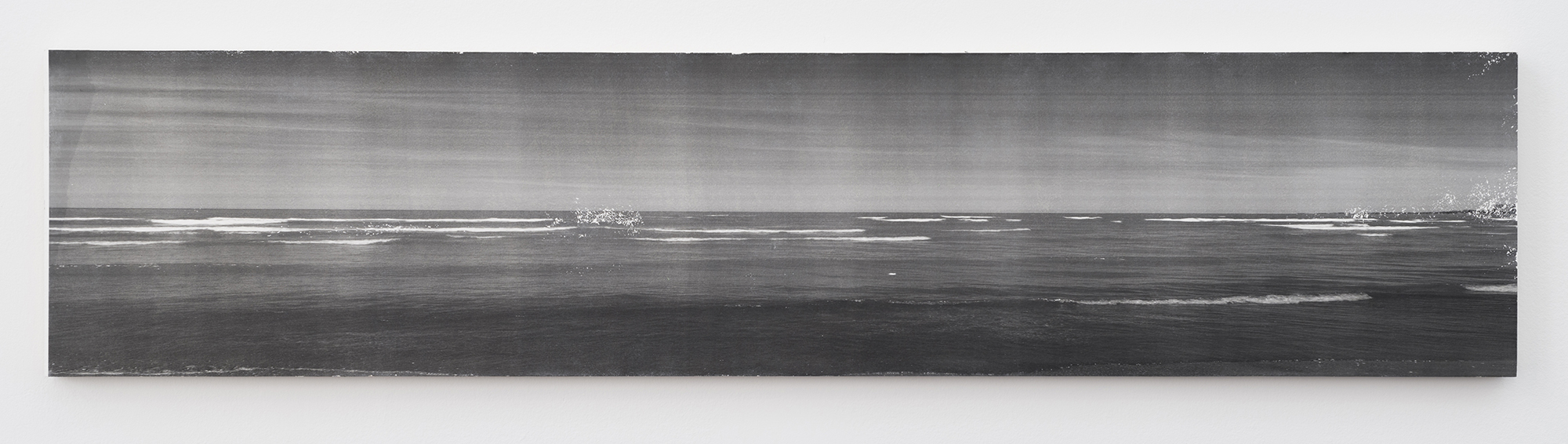 Ian Weaver, Shoreline I, 2014, photographic transfer with sanding and wax on panel, 18 x 76 inches