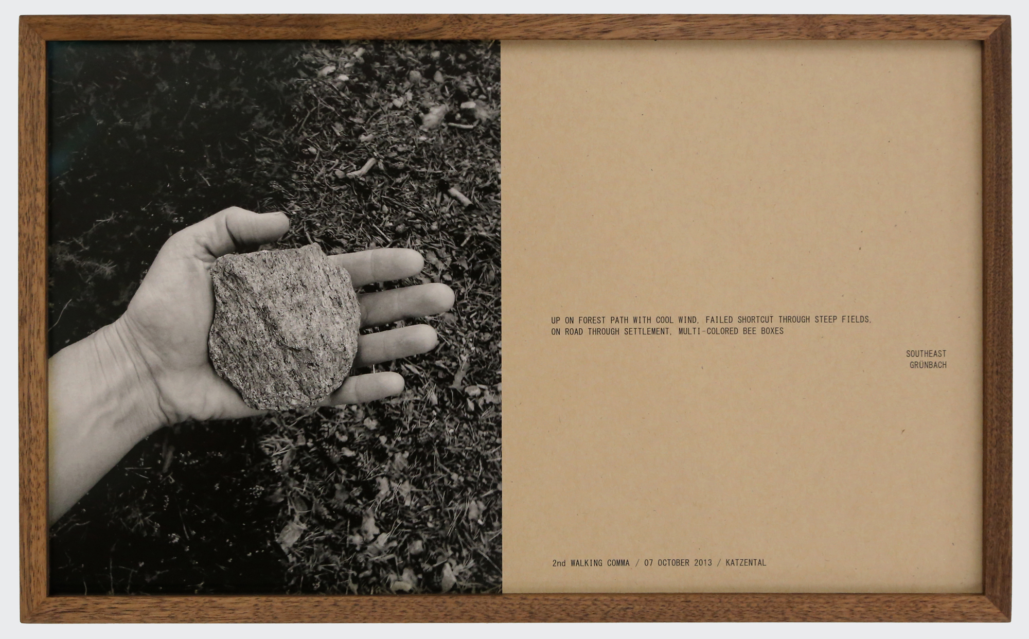 Helen Mirra, 2nd walking comma, 7 October, Katzental, 2013, black and white photograph and text, 25 1/2 x 42 cm