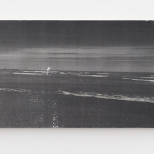 Ian Weaver, Shoreline III, 2014, photographic transfer with sanding and wax on panel, 18 x 86 inches
