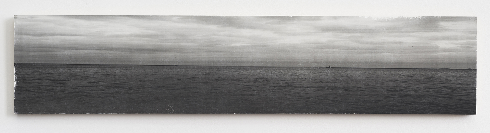 Ian Weaver, Shoreline IV, 2014, photographic transfer with sanding and wax on panel, 18 x 86 inches