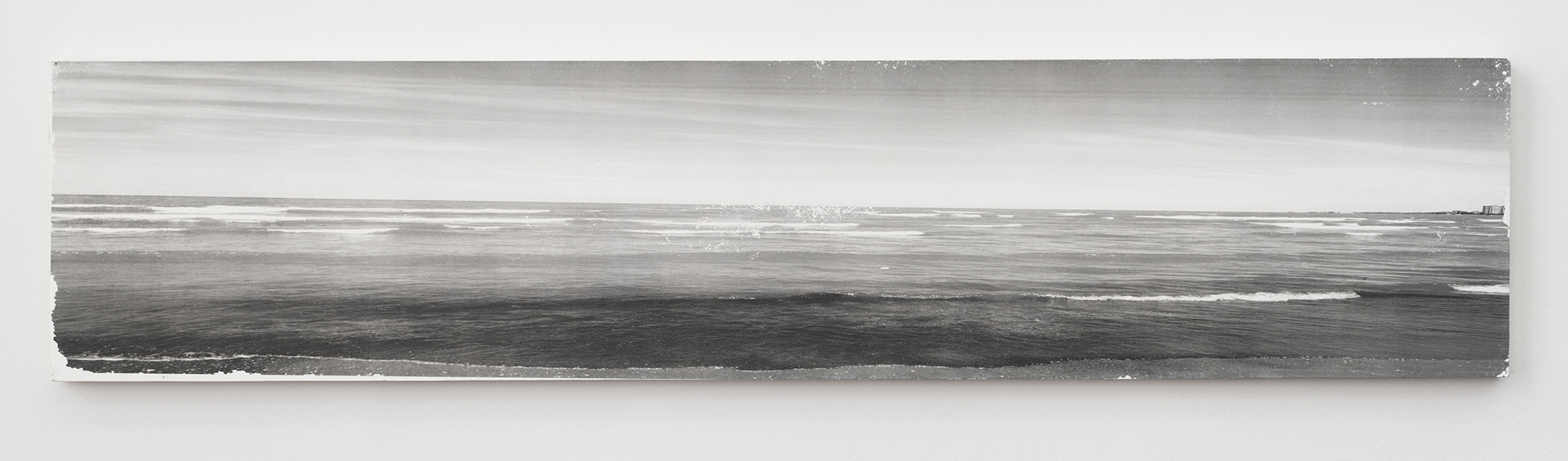 Ian Weaver, Shoreline VI, 2014, photographic transfer with sanding and wax on panel, 18 x 86 inches