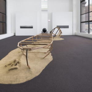 Ian Weaver, Migration Installation, 2015, media, including wood, rope, aluminum, photograph, sand, dimensions variable