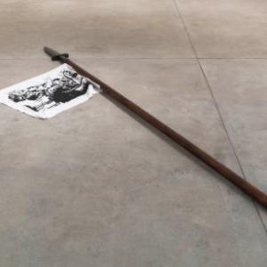 Jamal Cyrus, Major & Minor, 2014, wood, steel, fabric, silk screen, tacks, 2 x 106 x 29 inches