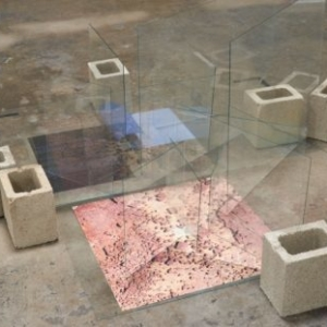 Charisse Pearlina Weston, black point perspective or blueprints for worry (notes one of nine or for while, for when, for where?), 2017, replacement glass, digital archival print, transparencies, cinder blocks, dimensions variable