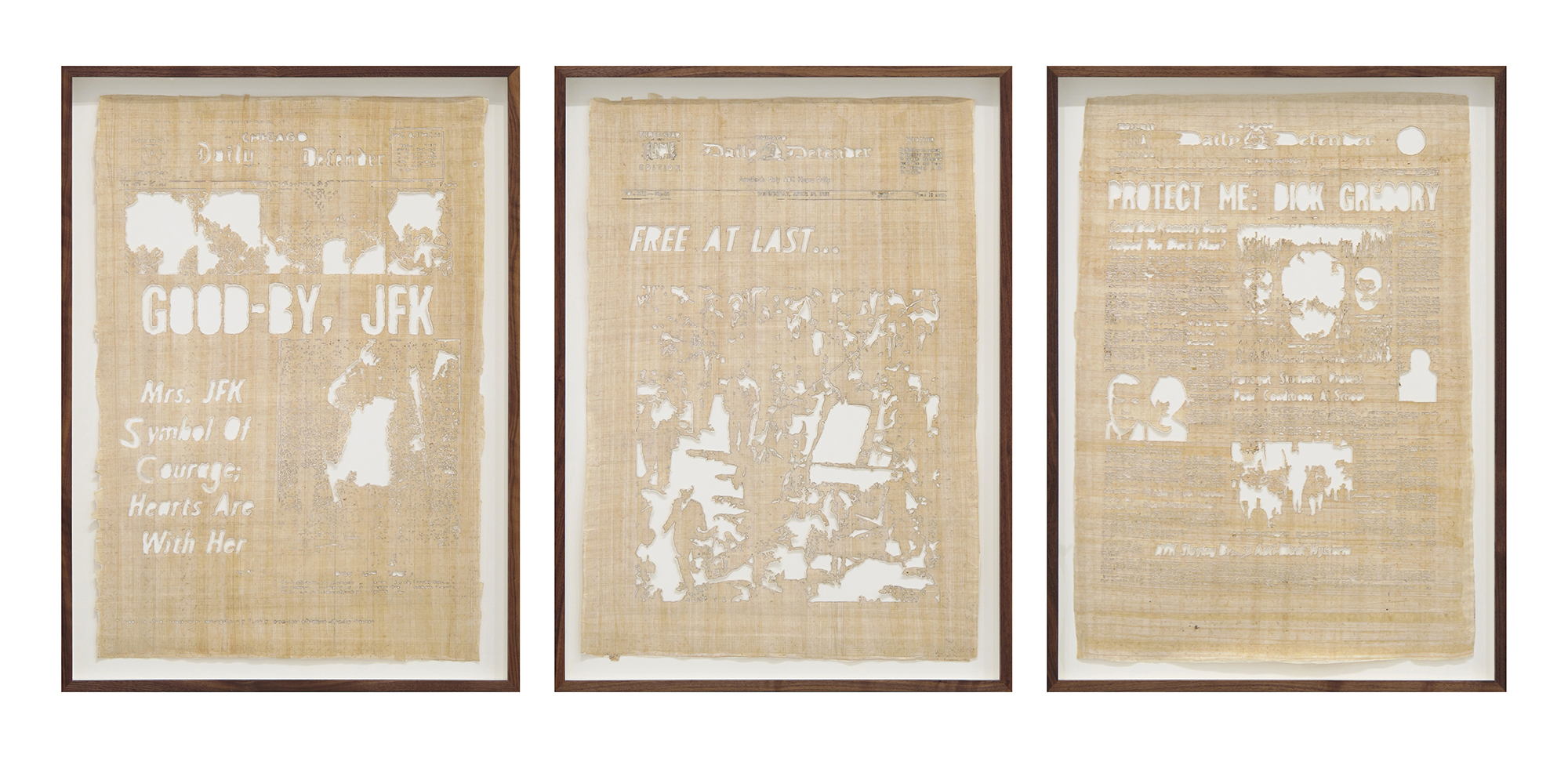 Jamal Cyrus, Kennedy King Kennedy, 2015, laser-cut Egyptian papyrus backed with handmade paper, ed 1 of 2 triptych, 27 x 16 3/4 inches each
