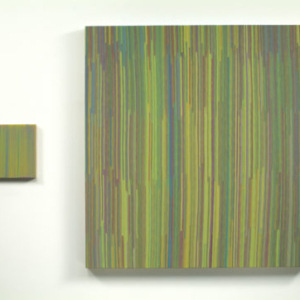 Anoka Faruqee, Colors Observed and Magnified (YMC), 2006, acrylic and Flashe on linen on panel, diptych, 11 1/4 x 10 1/2 inches and 50 2/3 x 46 1/8 inches