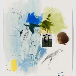 Andreas Fischer, Parents, 2011, watercolor, gouache, pencil, sharpie, magazine photographs, and cut paper on paper, 11 x 9 inches