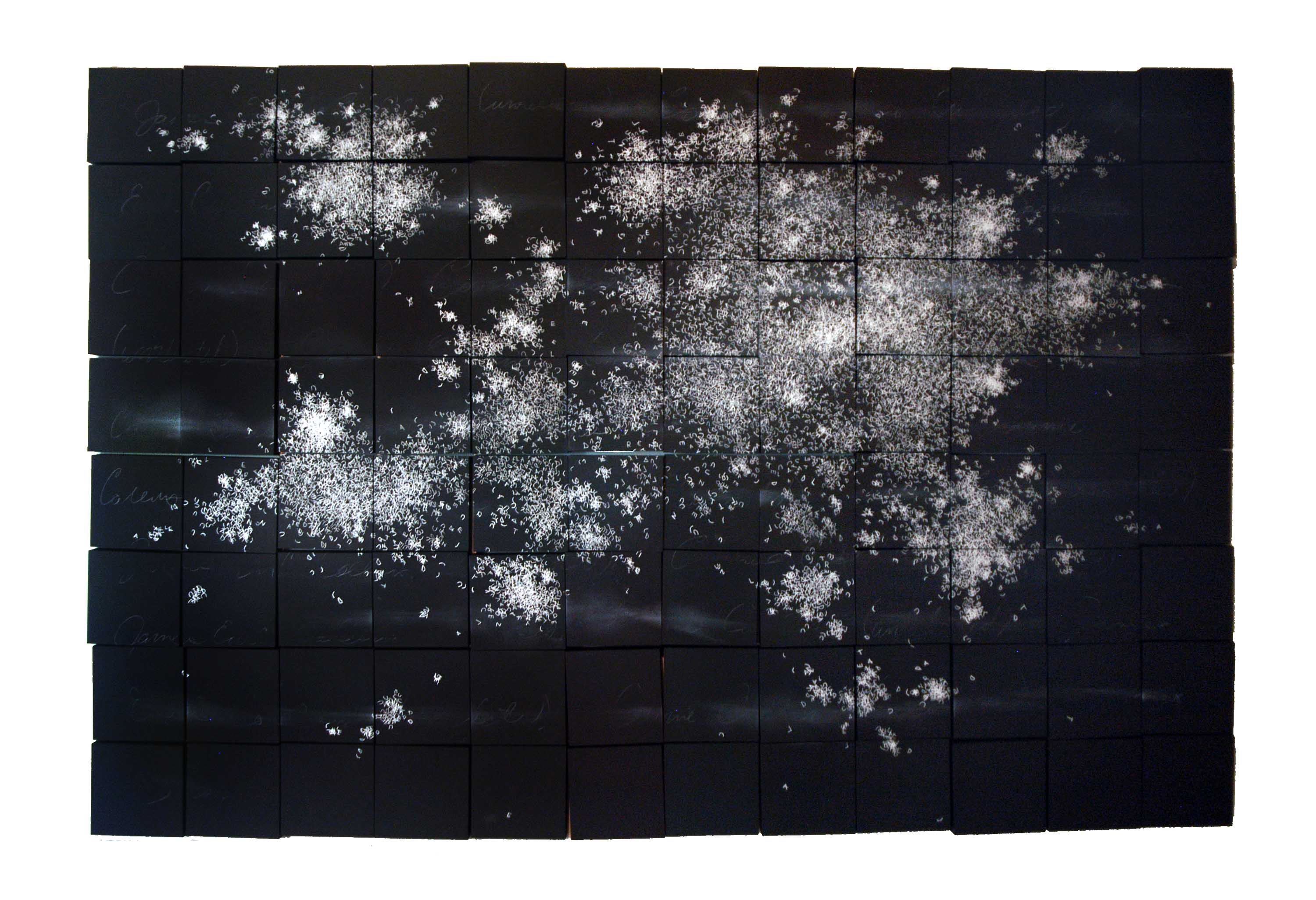 Bethany Collins, (Unrelated), 2012, chalk, charcoal, latex paint on panel, 48 x 72 x 2 inches