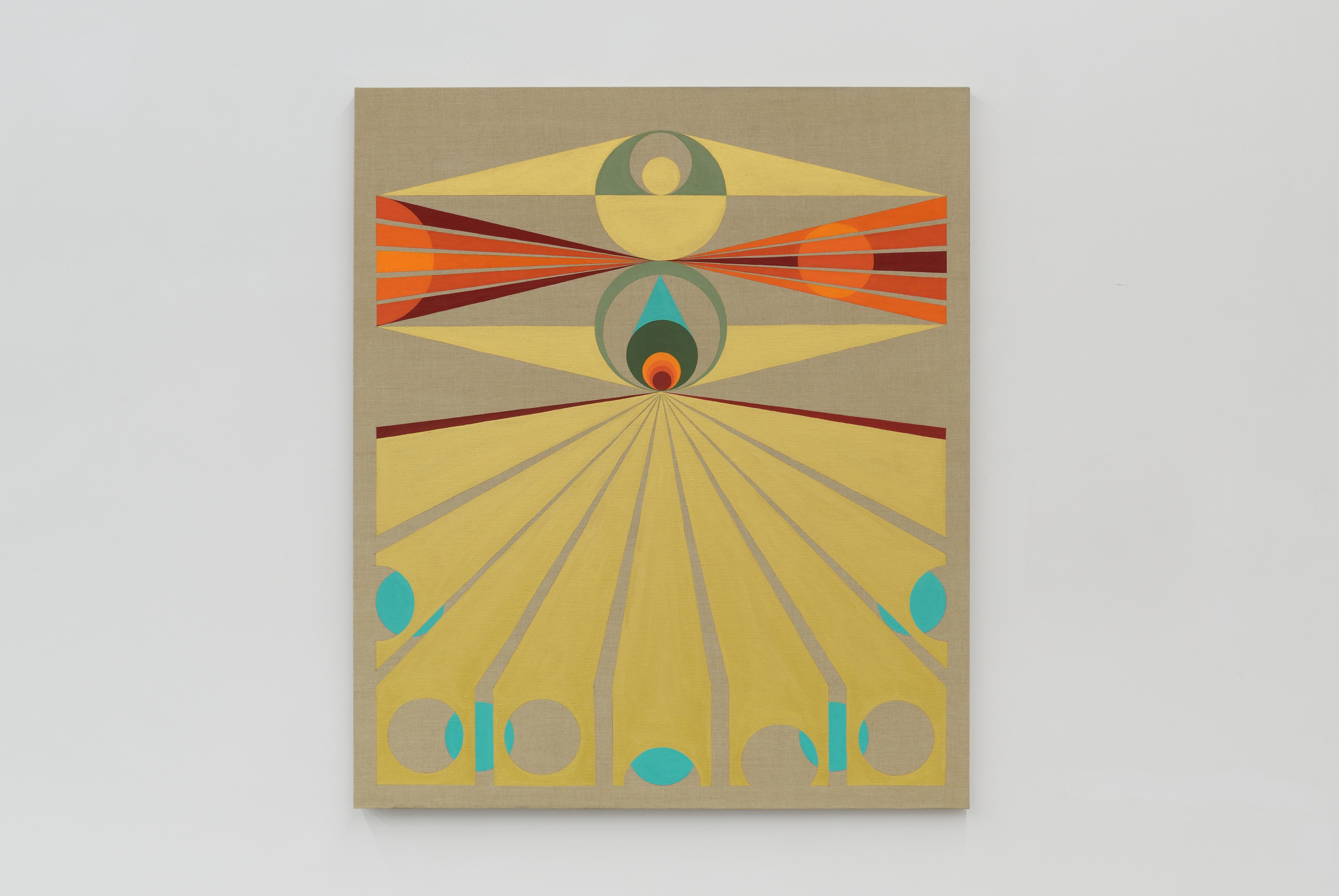 "Eamon Ore-Giron Cutting the Sun, 2015, flashe on linen, 66"" x 56"""
