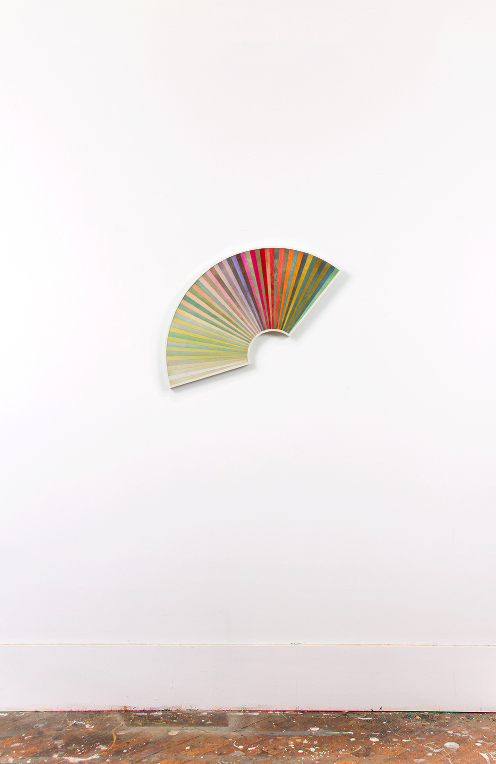 Dan Gunn, Fanning No. 1, 2013, dye and polyurethane on plywood, 28 x 36 inches