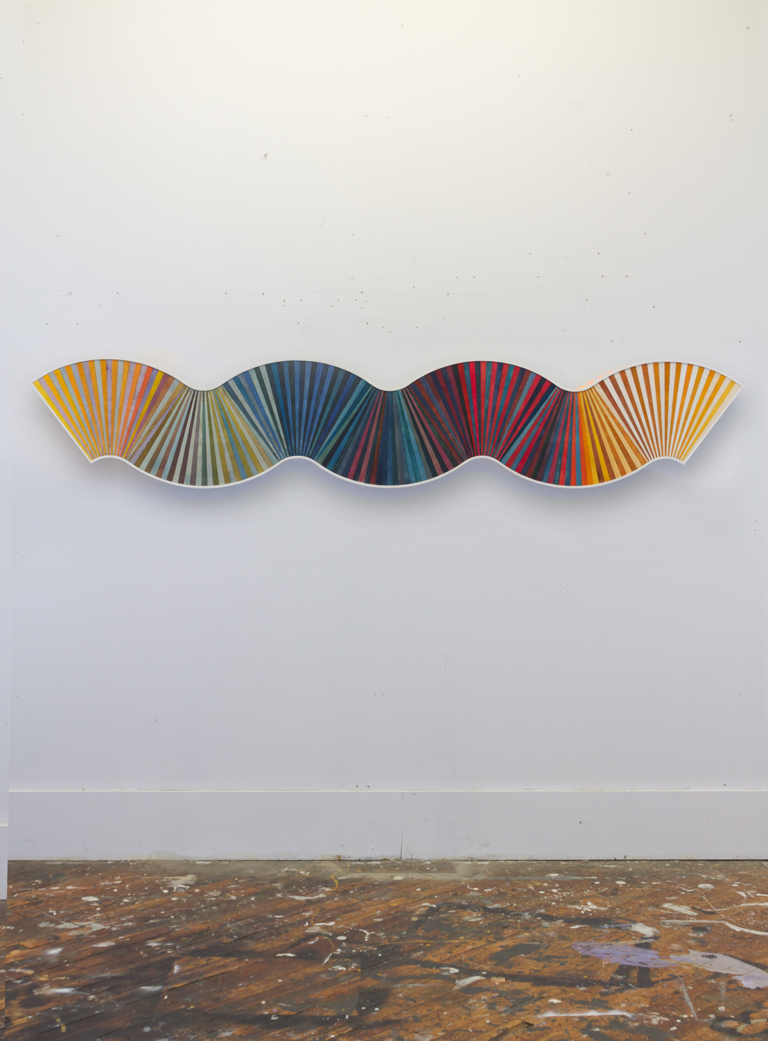 Dann Gunn, to Fan No. 2, 2014, dye, polyurethane on plywood, 20 x 88 inches
