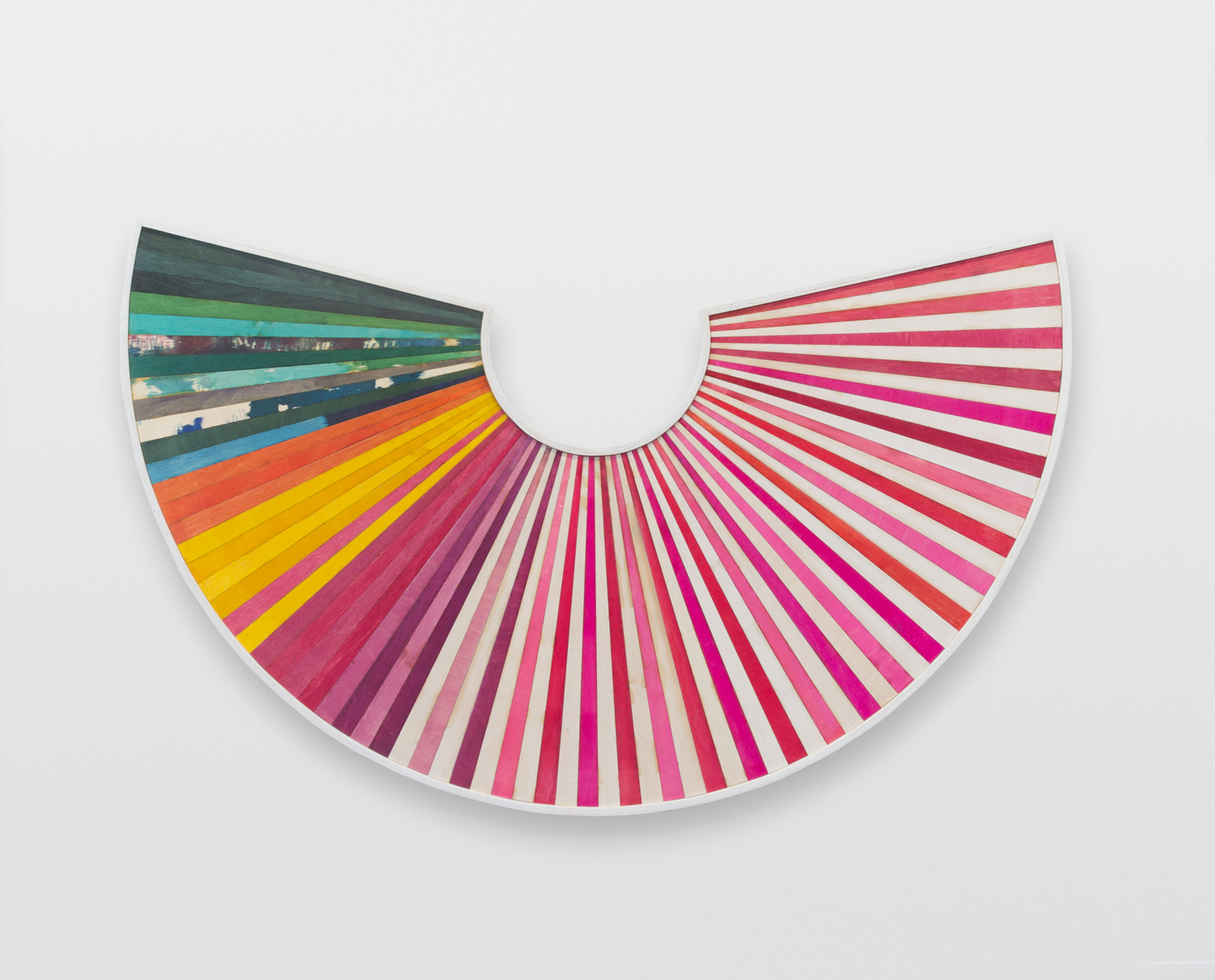 Dann Gunn, Fanning No. 4 2014, dye, polyurethane on plywood, 21 x 32.5 inches