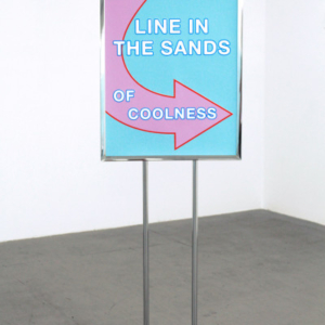 Eileen Maxson Line in the Sands of Coolness, 2015, Two Silk Screen Prints on Paper, Metal Stand, 50 x 22.5 x 10 inches