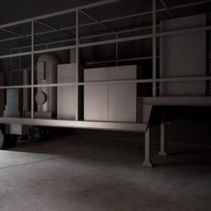 "Iñigo Manglano-Ovalle, Phantom Truck, 2007, aluminum and epoxy paint, 13' 1/4"" x 32'9"" x 8'2"", Installation view at Documenta 12, 2007"
