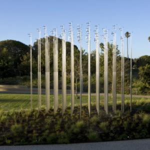"Iñigo Manglano-Ovalle, Weather Field No. 1, 2013, stainless steel, magnesium, 20'-6"" x 20'-6"" x 12'-2"" feet/inches, installation view at Tongva Park, Santa Monica, CA, 2013"