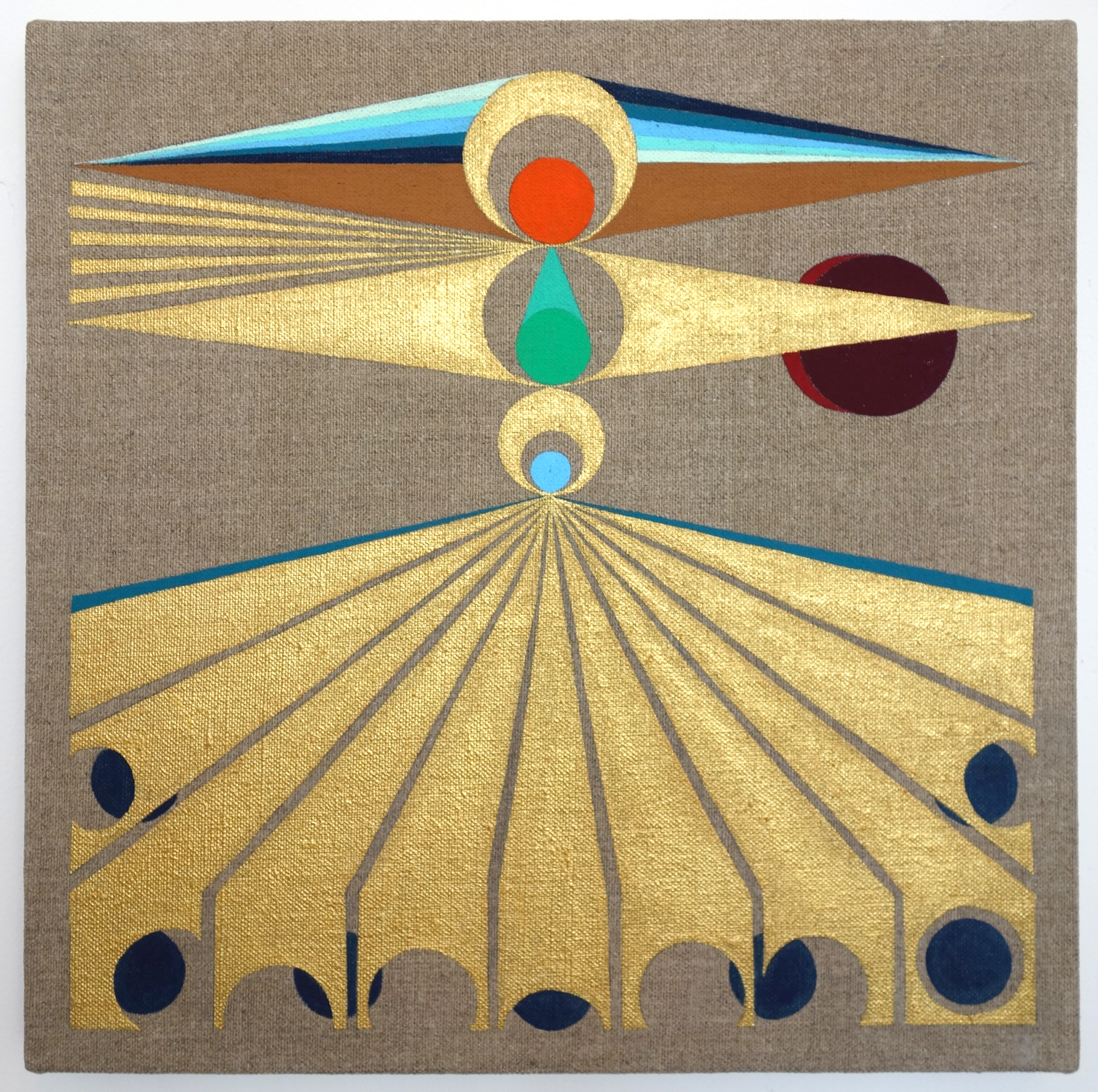 "Eamon Ore-Giron Infinite Regress IV, 2015, Flashe on linen, 12"" x 12"""