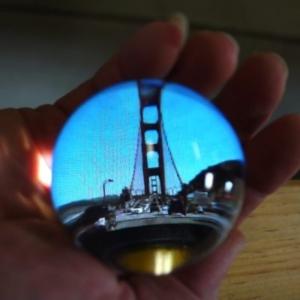 JD Beltran, Cinema Snowglobe (Golden Gate Bridge), 2012, Interactive sculpture, custom electronics, video, 3 x 3.5 inches