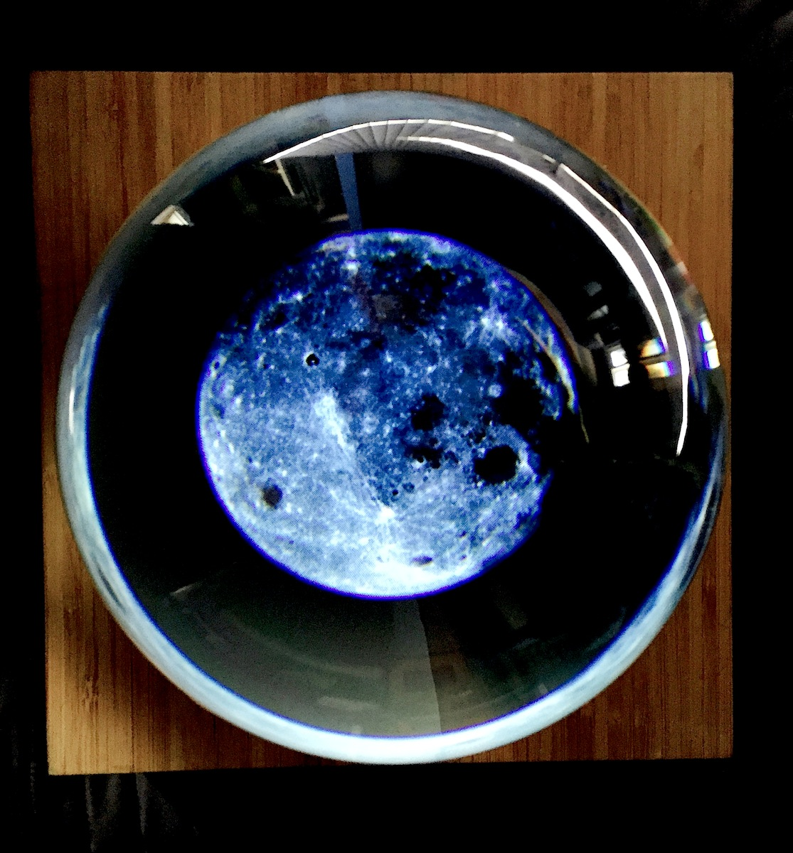JD Beltran, Untitled (Crystal Ball), 2014, video sculpture (custom lens, video, base), 12 x 12 x 12 inches