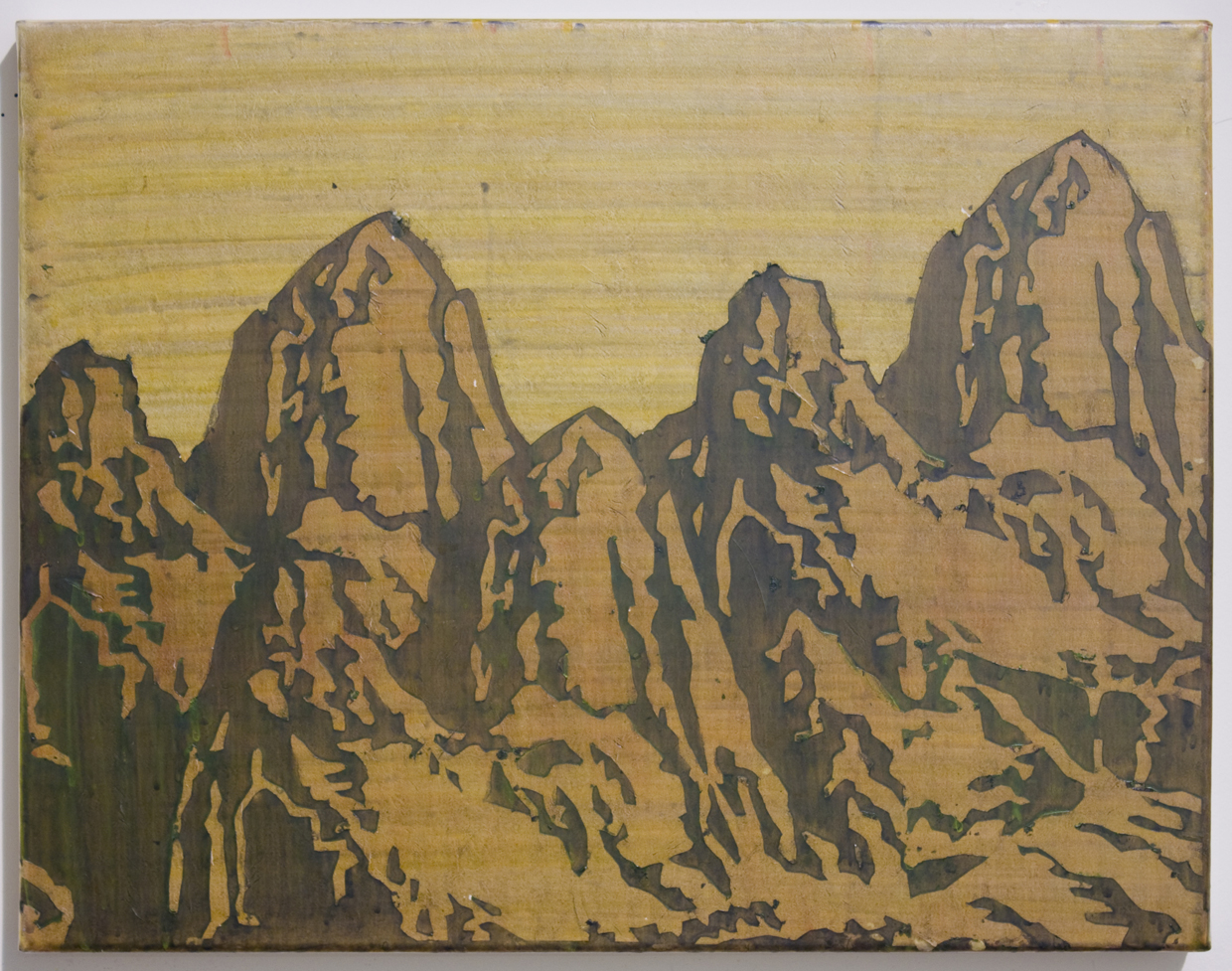 "Jang Soon Im, Landscape study (3 Patagonias), 2015, Pigment and hide glue on mulberry paper, 18"" x 14"""