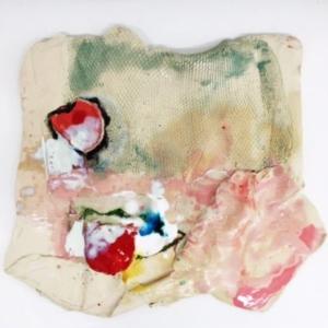Jennie Jieun Lee, Double Tongue, glazed stoneware, 2015, 18 x 18 x .5 inches