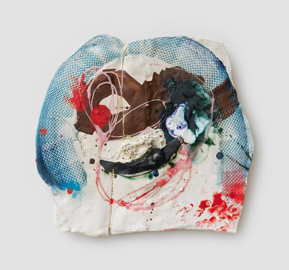 Jennie Jieun Lee, Coda Code Red, glazed stoneware, 2014, 24 x 22 x 3 inches