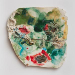 Jennie Jieun Lee, Cosmo, glazed porcelain, 2014, 15 x 15 x 1 inches