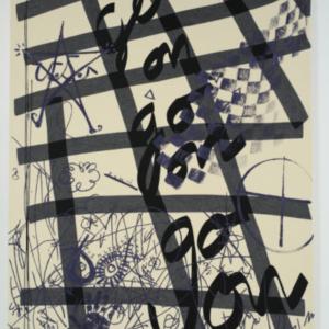 James Gobel, Goons, 2014, felt, acrylic, yarn, and embroidery thread on canvas, 62 x 48 inches