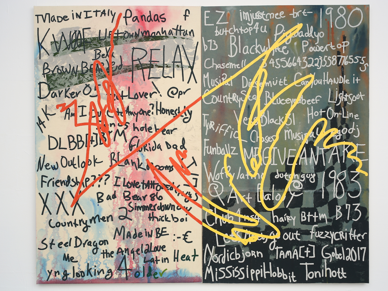 James Gobel, Untitled (GROWLr Names), 2014, felt, acrylic and embroidery thread on canvas, 64 x 68 inches