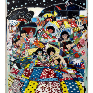 JooYoung Choi, Welcome Home, We've Been Waiting For You, 2015, acrylic, paper, and painted canvas on stretched canvas, 96 x 72 inches