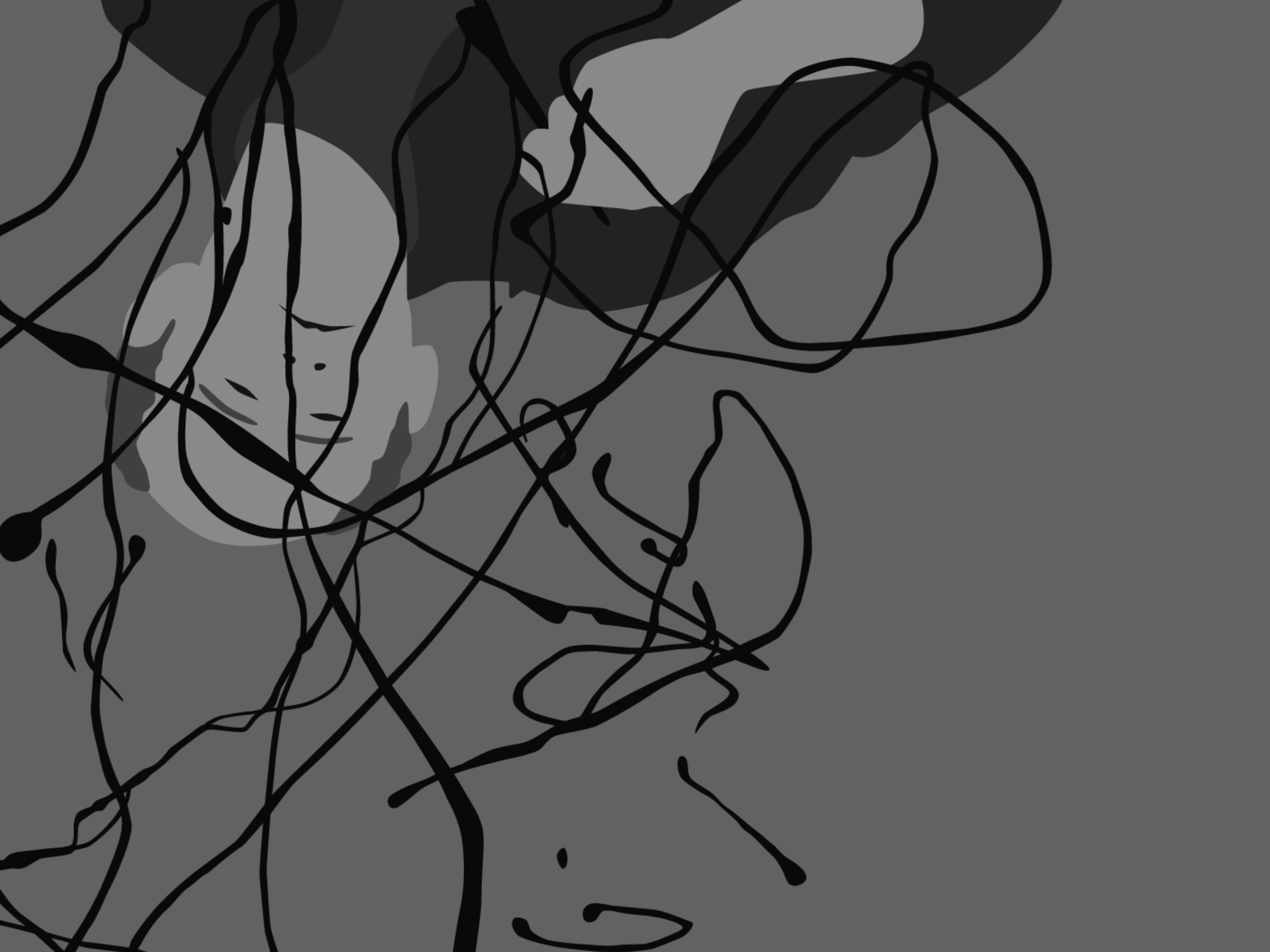 Kota Ezawa, Paint, Unpaint, video still, 2014, single-channel video, black and white, silent 1 min., 34 sec., dimensions variable