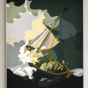 Kota Ezawa, The Storm on the Sea of Galilee, 2015, duratrans transparency and LED lightbox, 62-1/2 x 50-1/2 x 2-3/4 inches