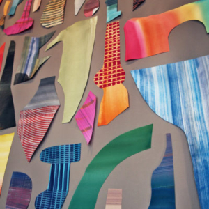 Katy Fischer, Collection 14 (detail), 2015, painted silk and silk thread, 65 x 45 inches