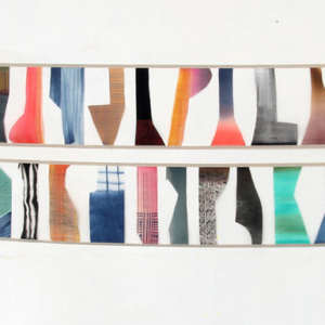 Katy Fischer, Banners, 2014, painted silk and linen, 25 x 122 inches