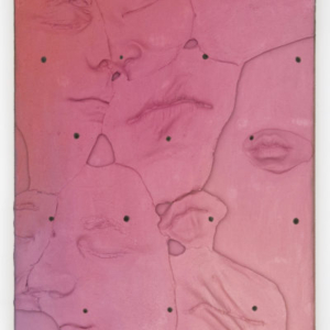 """Lucy Kim, Marilyn Marks Jon and Lucy, 2013, Oil paint and plastic on wood panel, 16"""" x 12"""""""
