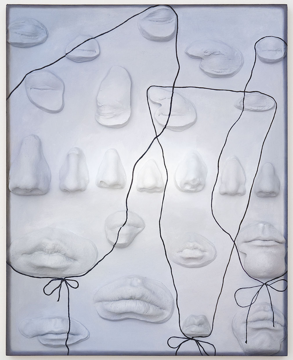 """Lucy Kim, Your Noice is My Nose 2, 2014, oil paint and plastic on wood panel, 20"""" x 16"""""""
